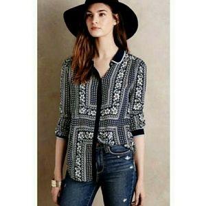 Anthropologie maeve blue bandana button blouse xs